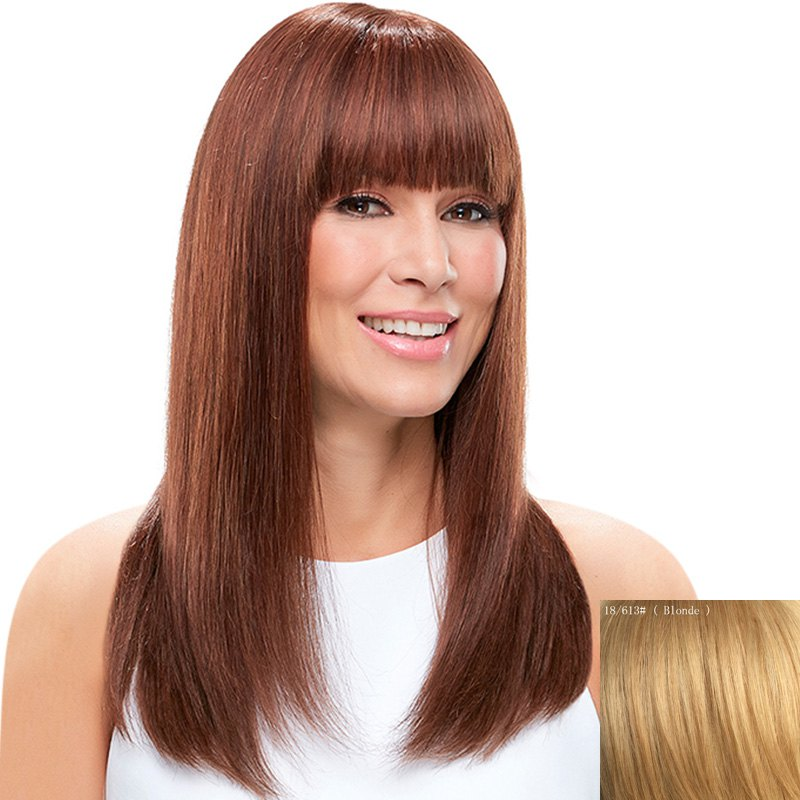 Discount Charming Silky Straight Full Bang Capless Vogue Long Real Natural  Hair Wig For Women 5ea4021a93