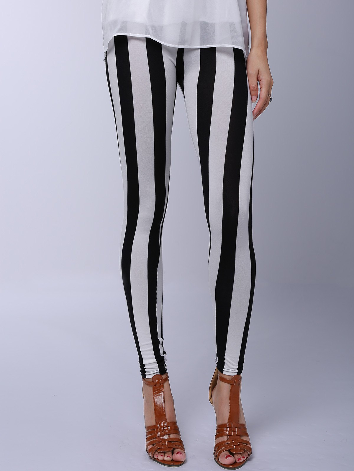 Fancy Stylish Striped Printed Stretchy Leggings For Women
