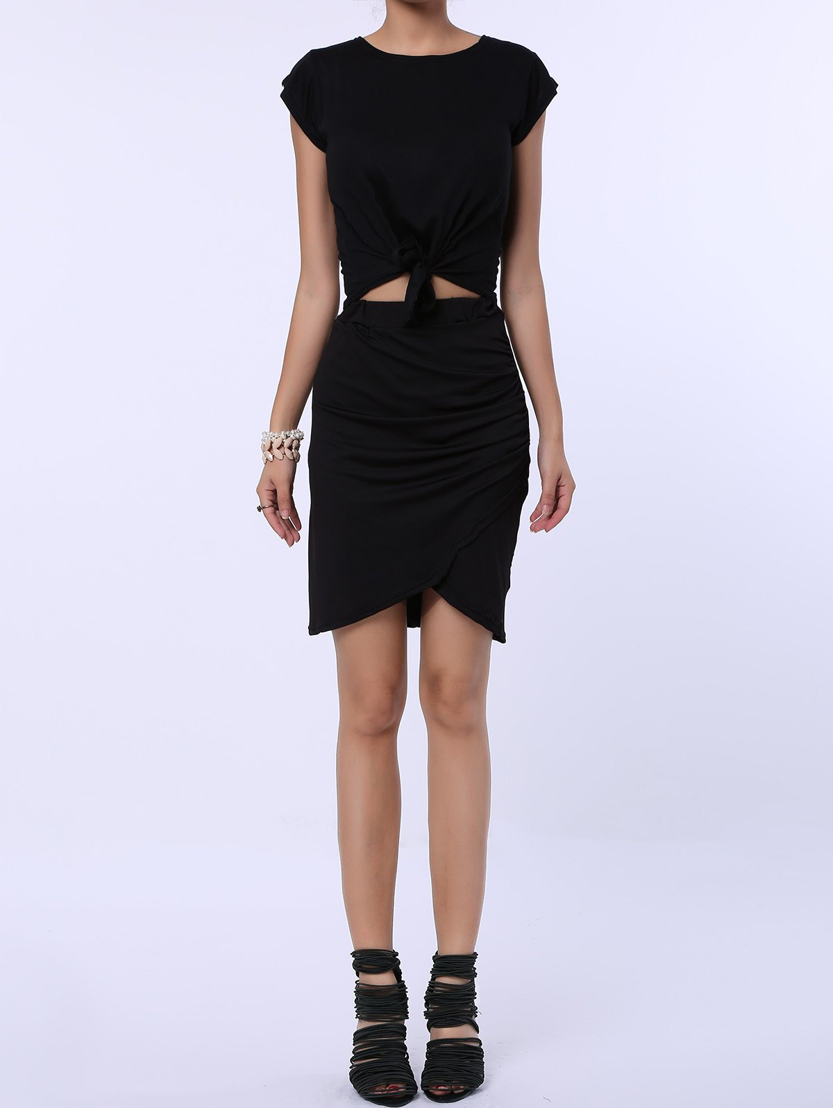 Fancy Ruched Crossover Pencil Skirt