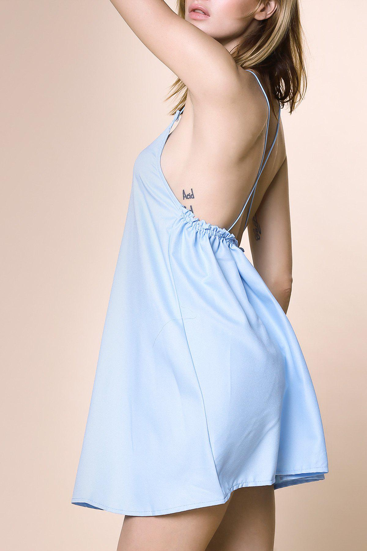 Discount Charming Strappy Cross Back Tunic Dress