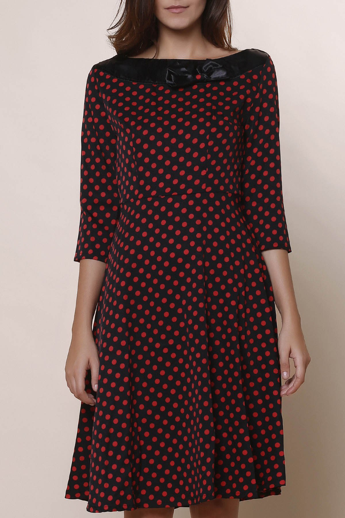 Outfit Vintage Slash Neck Polka Dot Print Bowknot Design 3/4 Sleeve Dress For Women