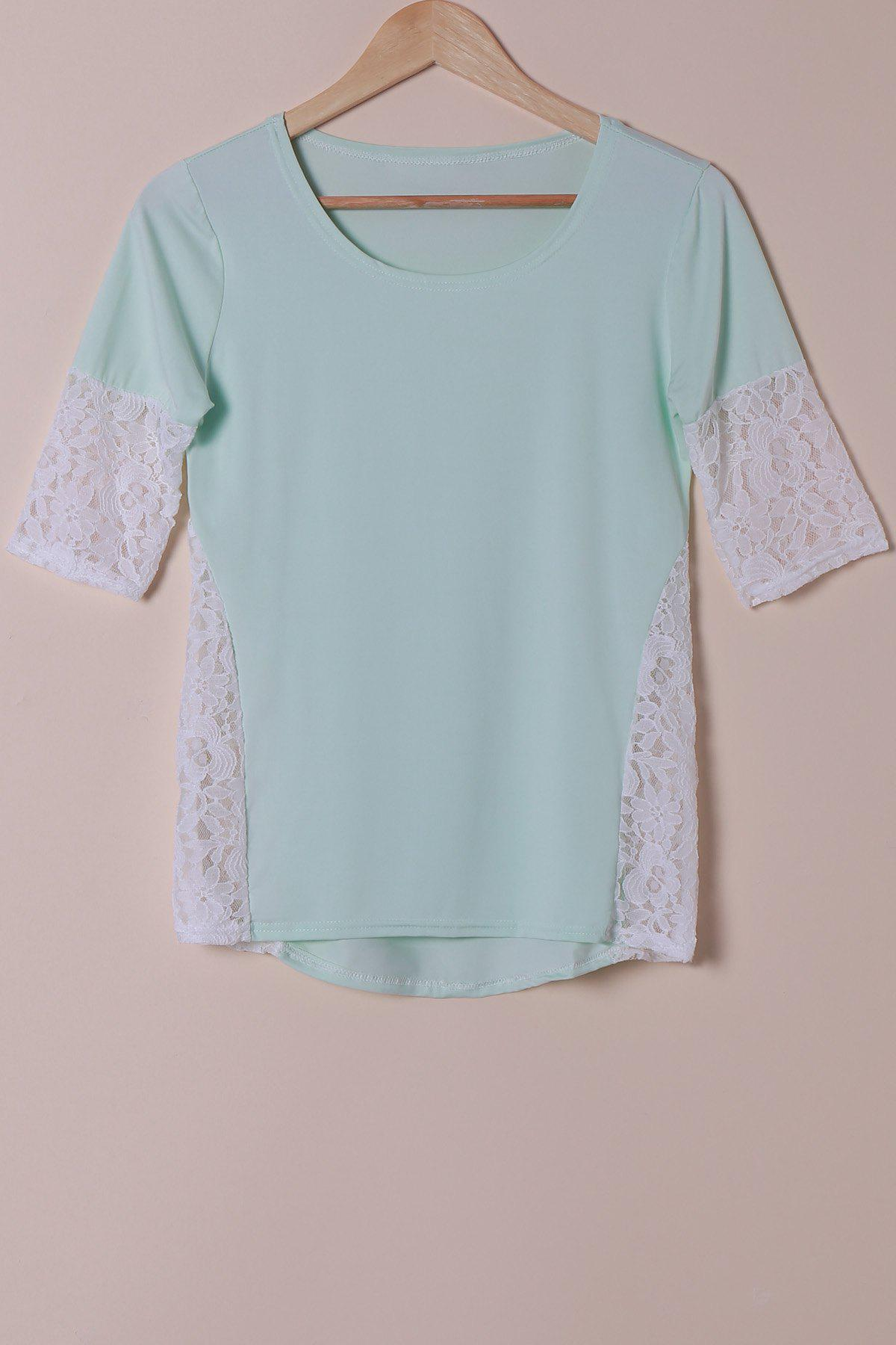 Shops Stylish Scoop Neck Lace Spliced Half Sleeve T-Shirt For Women