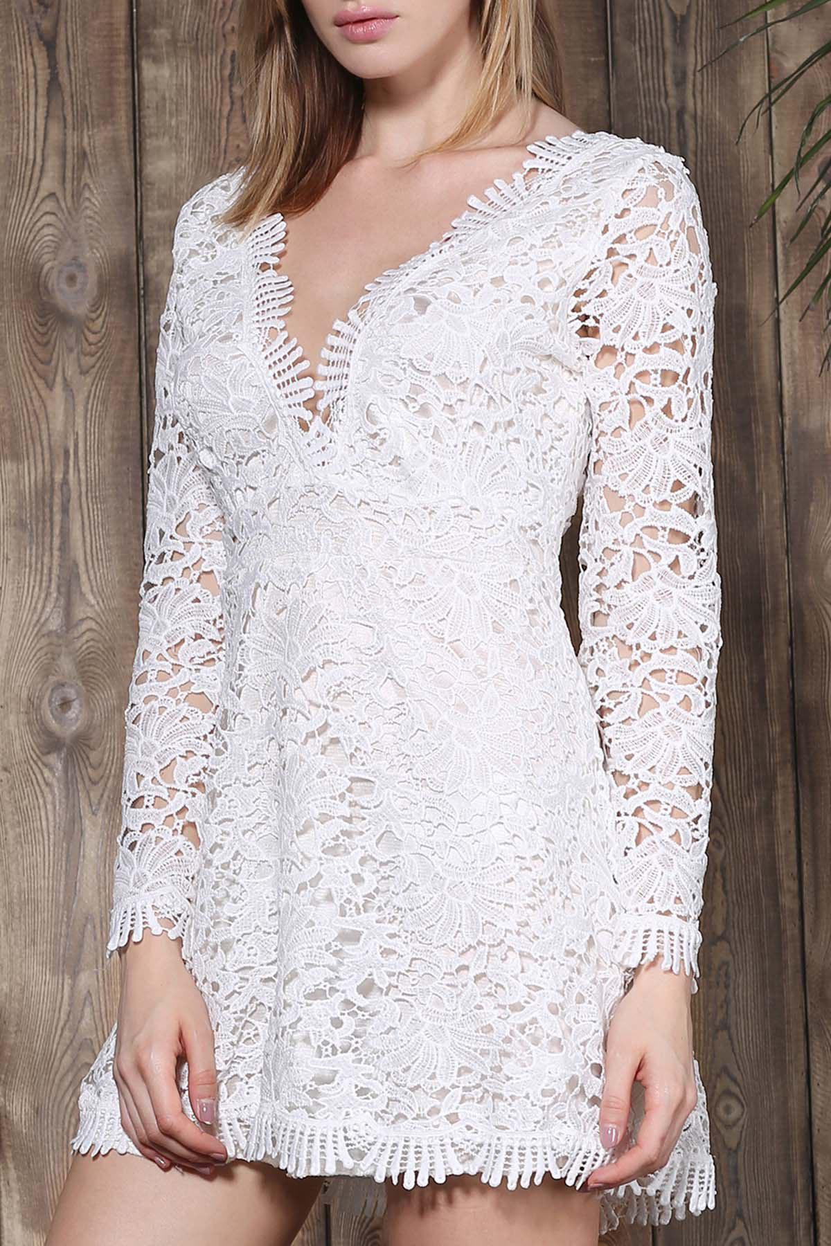 Affordable Mini Plunge Long Sleeve Lace Backless Dress