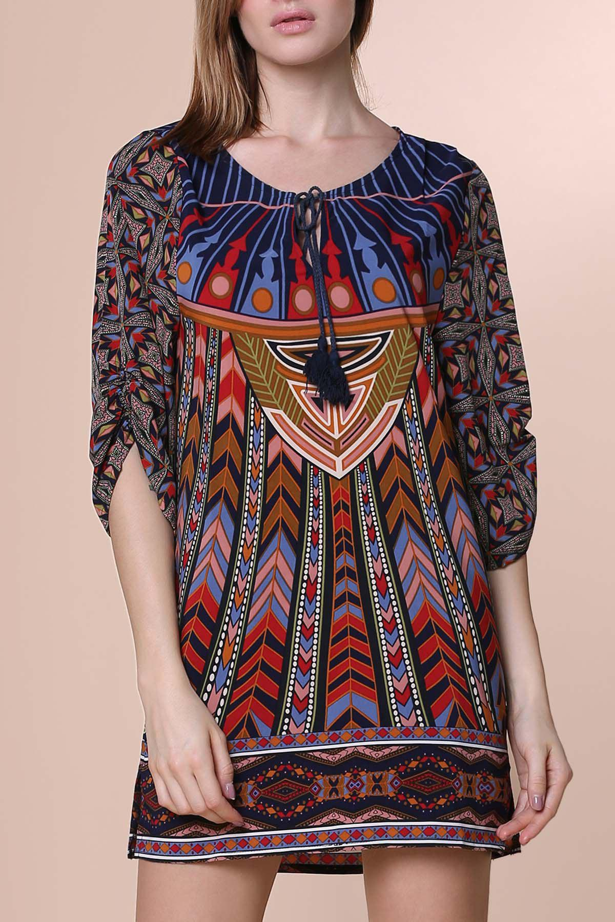 Fashion Women's Simple 3/4 Sleeve Lace-Up Ethnic Print V-Neck Dress
