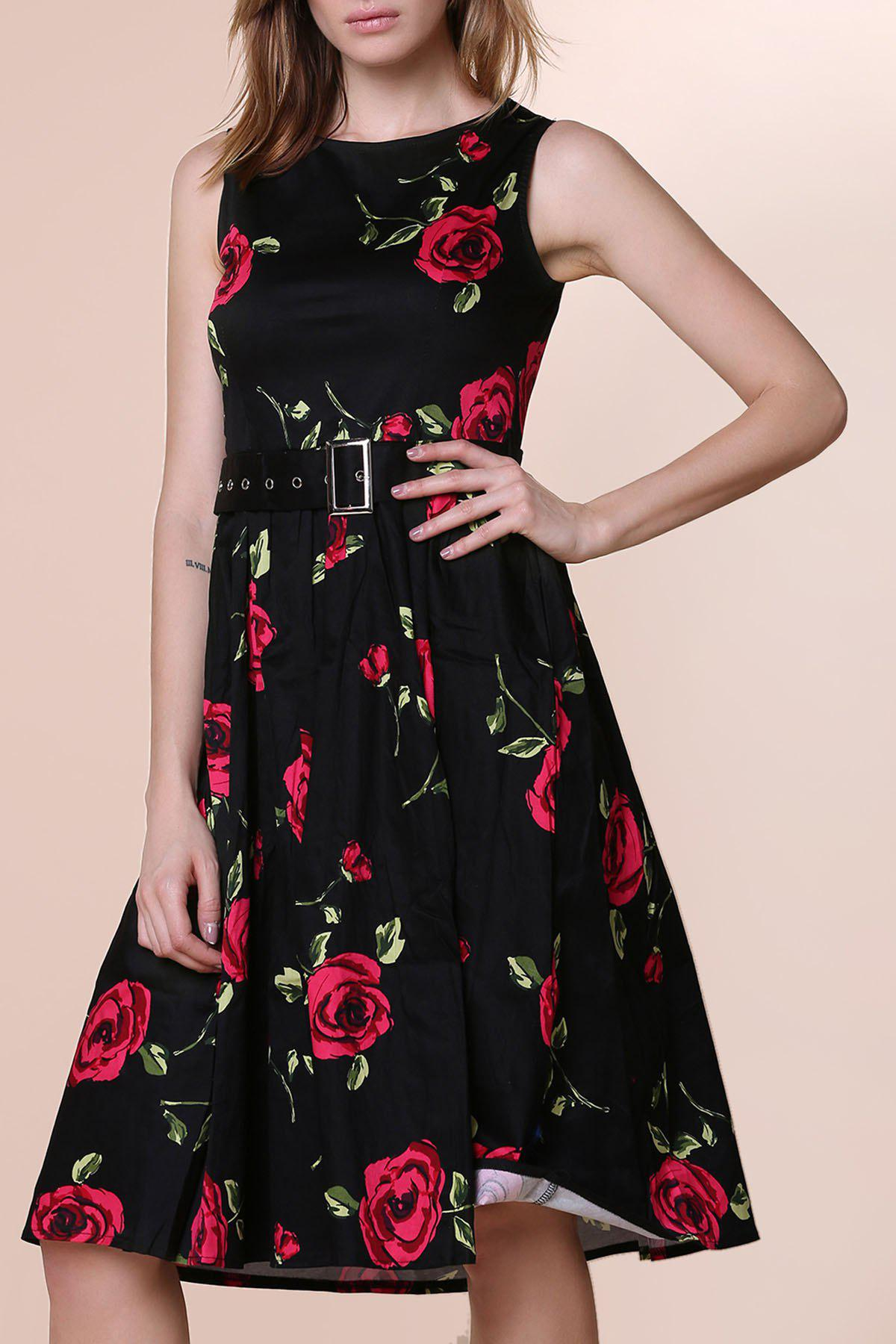 Best Retro Style Round Neck Sleeveless Roses Print Women's Ball Gown Dress