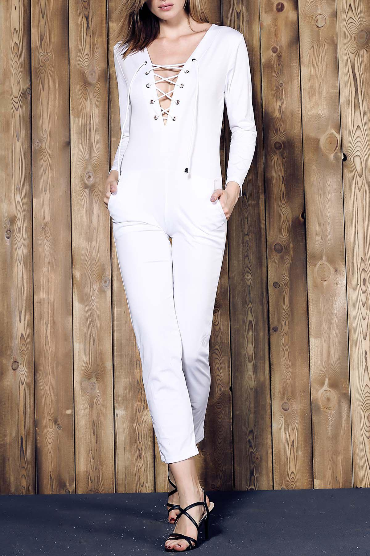 Best Long Sleeve Lace-Up Deep V Jumpsuit