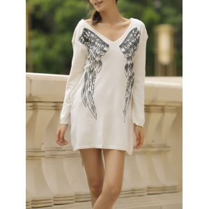 Stylish V-Neck Long Sleeve Wing Pattern Loose-Fitting Women's Sweater - Off-white - M