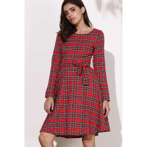 Vintage Long Sleeve Plaid Self-Tie 1940S Swing Dress - RED M