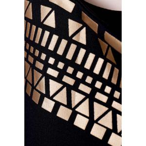 Cut Out Bodycon Club Dress - BLACK AND GOLDEN M