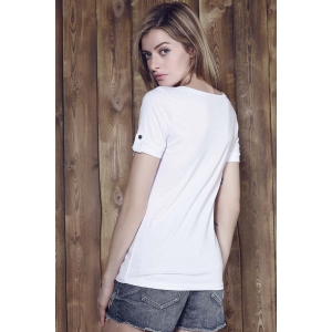 Stylish Plunging Neck Short Sleeve Button Design T-Shirt For Women -