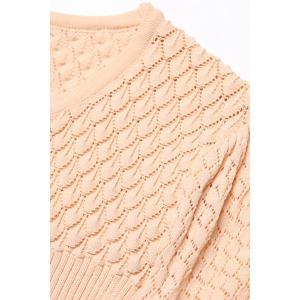 Cable Knit Knee Length Sweater Dress - APRICOT S