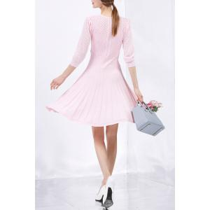Col rond percé Solid Color Sweater Dress - ROSE PÂLE S