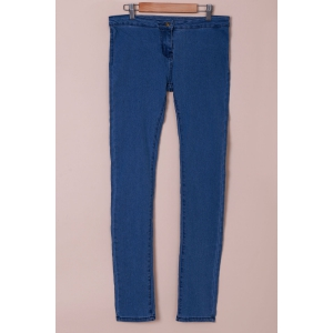 Fashionable Solid Color Skinny High-Waisted Jeans For Women - Azure - L