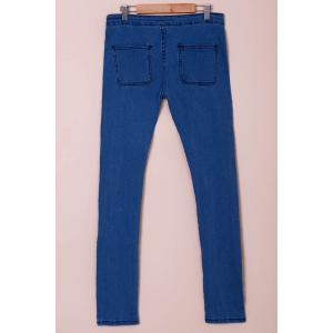Fashionable Solid Color Skinny High-Waisted Jeans For Women - AZURE L