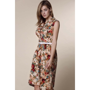 Retro Style Turn-Down Collar Sleeveless Ball Gown Floral Print Dress For Women -