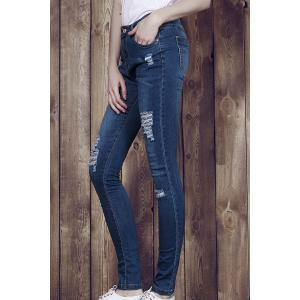 High Waisted Ripped Skinny Jeans - Blue - Xl
