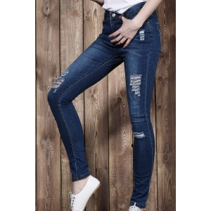High Waisted Ripped Skinny Jeans - BLUE XL