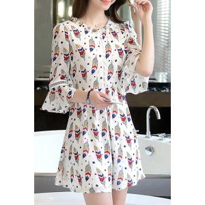 Short Printed Flare Sleeve Dress -