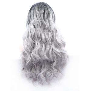 Fluffy Long Synthetic Women's Wavy Lace Front Wig - BLACK AND GREY