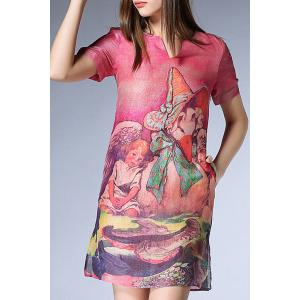 Elegant V-Neck Short Sleeves Print Slit Dress For Women -