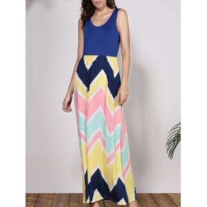 Bohemian Scoop Neck Sleeveless Chevron Maxi Dress - Colormix - Xl