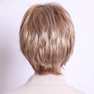 Noble Inclined Bang Capless Fashion Short Layered Straight Human Hair Wig For Women -
