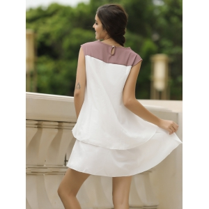Sweet Jewel Neck Color Block Sleeveless Women's Dress - WHITE S
