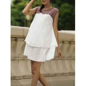 Sweet Jewel Neck Color Block Sleeveless Women's Dress