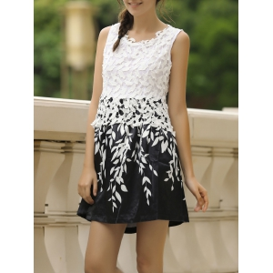 Stylish Round Neck Sleeveless Spliced Printed Women's Dress