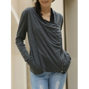 Long Sleeve Zippered Thin Cotton Jacket Coat