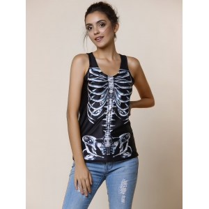 Scoop Neck Slimming Print Black Tank Top For Women -