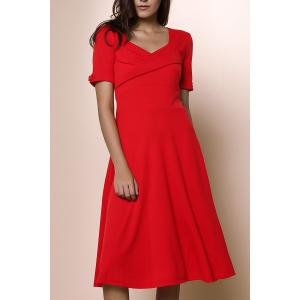 Womens's Vintage Pure Color Sweetheart Neck 1/2 Sleeve Dress - Red - 2xl
