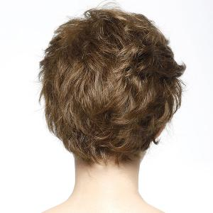 Bouffant Short Wave Fashion Inclined Bang Real Natural Hair Wig For Women - BROWN/BLONDE