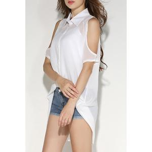 Cold Shoulder Chiffon Shirt with Tank Top - WHITE M