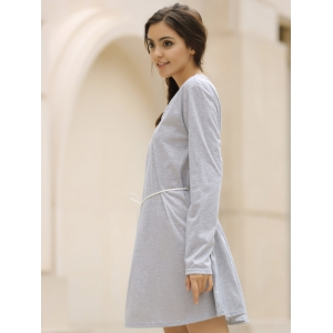Casual V-Neck Long Sleeve Loose-Fitting Solid Color Dress For Women - GRAY XL