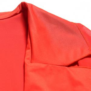 Fashionable Turn-Down Collar 3/4 Sleeve Solid Color Blouse For Women -
