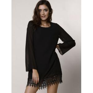 Lace Trim Long Sleeve Chiffon Shift Dress - BLACK S