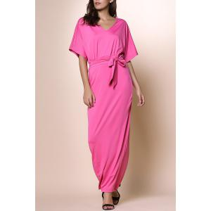 Alluring V-Neck Dolman Sleeve Self-Tie Maxi Dress For Women - Rose - L