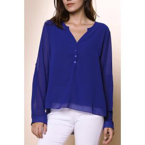 Chic Women's V-Neck Button Design Long Sleeve Blouse