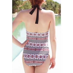 Sweet Halter Openback Printed Women's Swimsuit - COLORMIX M