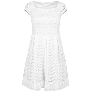 Chic Women's Short Sleeve Square Neck A-Line Dress