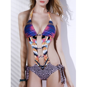 Alluring Halter Leopard Print Hollow Out Women's Swimwear
