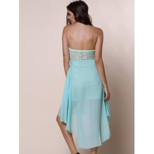 Strapless High Low Maid of Honor Dress - BLUE L