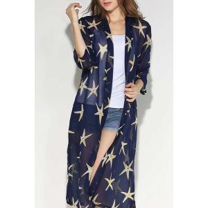 Fashionable Collarless Star Print 3/4 Sleeve Slit Blouse For Women -