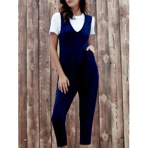 Chic Plunging Neck Sleeveless Pocket Design Solid Color Women's Jumpsuit