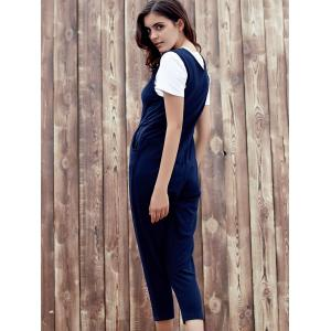 Chic Plunging Neck Sleeveless Pocket Design Solid Color Women's Jumpsuit - DEEP BLUE S