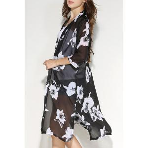 Fashionable Floral Print 3/4 Sleeve Slit Blouse For Women -