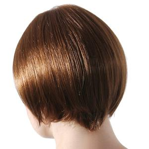 Trendy Short Hairstyle Straight Side Bang Capless Human Hair Wig -