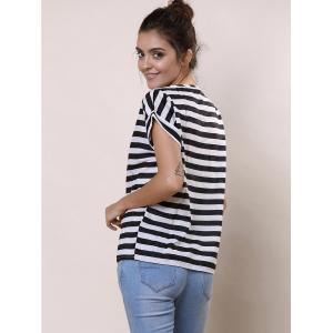 Stylish Scoop Collar Short Sleeve Striped Chiffon Women's Blouse - WHITE/BLACK XL