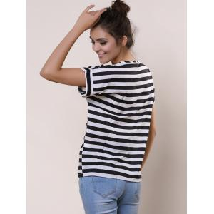 Stylish Scoop Collar Short Sleeve Striped Chiffon Women's Blouse - WHITE AND BLACK XL